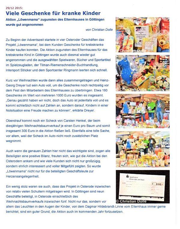 Elternhaus Gottingen Spendengalerie Aktion Lowenmama In Osterode